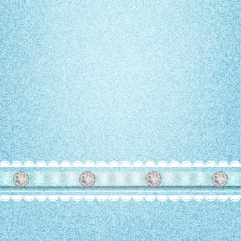 Jeans texture pattern and rhinestones