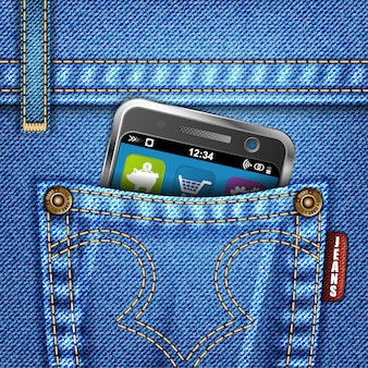 Jeans texture with smartphone