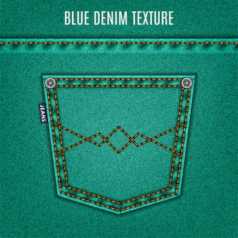 Jeans turquoise texture with pocket, denim background