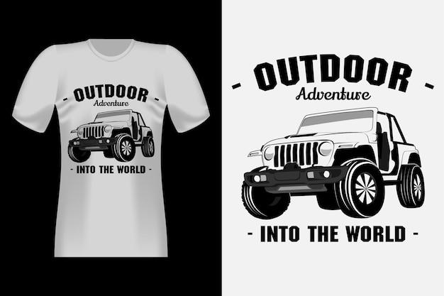 Дизайн винтажной футболки в винтажном стиле с рисованным рисунком jeep adventure
