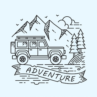 Jeep adventure lineal иллюстрация