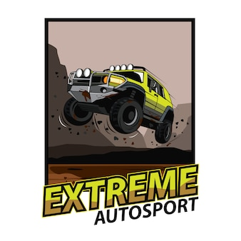 Jeep car jump on the mud