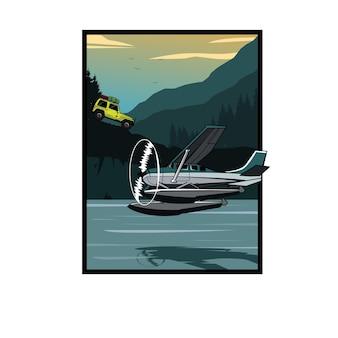 Jeep car and the sea plane