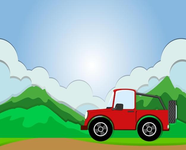 Jeep in viaggio su strada