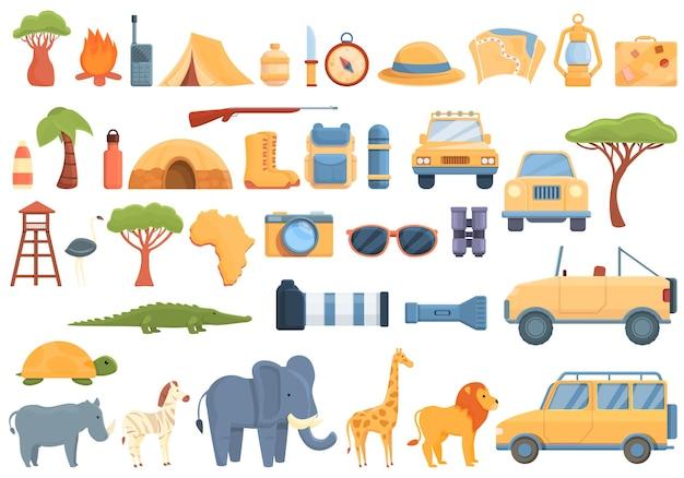 Набор иконок джип-сафари. мультфильм набор векторных иконок джип-сафари для веб-дизайна