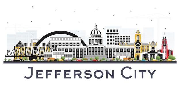 Горизонт миссури джефферсон-сити с цветными зданиями, изолированные на белом. векторные иллюстрации. деловые поездки и концепция туризма с исторической архитектурой. городской пейзаж джефферсона с достопримечательностями.