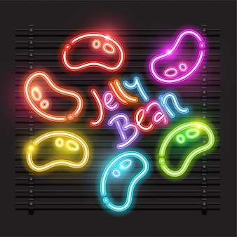 Jelly bean neon vector design.