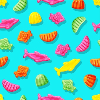 Jelly candies of fish and slices colored vitamins seamless pattern