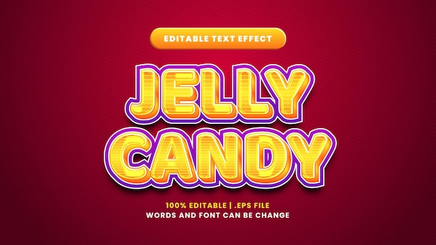 Jelly candy editable text effect in modern 3d style