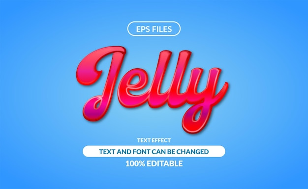Редактируемый текстовый эффект желе. eps файл. 3d красный джем глянцевый жидкий эффект вишневого соуса с синим фоном