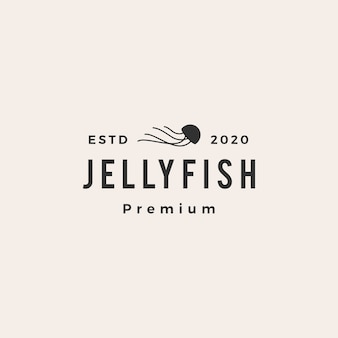 Jelly fish hipster vintage logo icon illustration