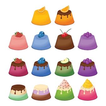 Jelly gelatine pudding sweet fruit dessert colorful set