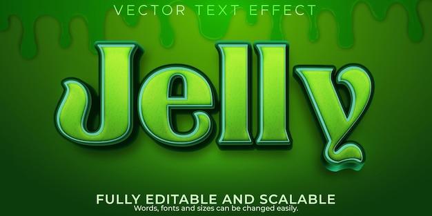Текстовый эффект желейной резинки, редактируемый зеленый и желатиновый стиль текста