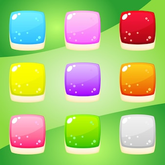 Jelly shape square nine color for puzzle games.