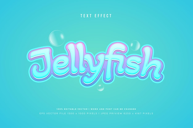 Jellyfish 3d text effect on tosca background