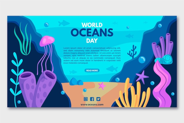 Jellyfish and algae oceans day banner