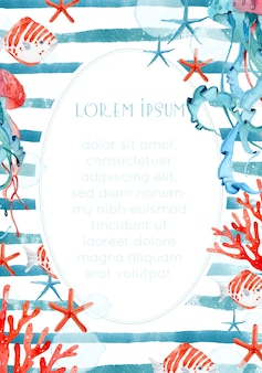 Акварельная рамка медузы и морские звезды на синем полосатом фоне