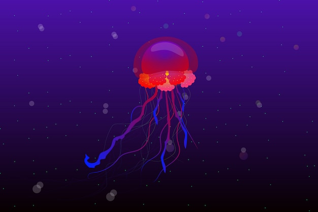 Jellyfish in the deep ocean background