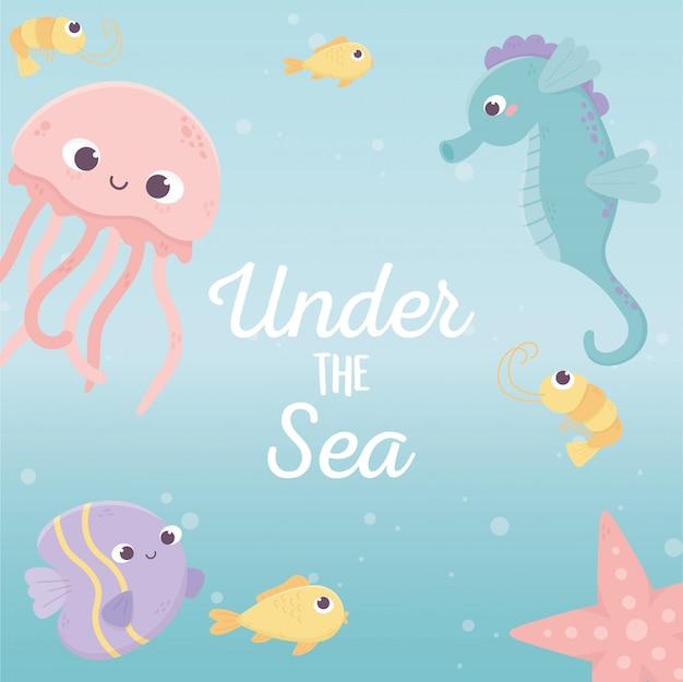 Jellyfish fishes seahorse starfish life cartoon under the sea vector illustration