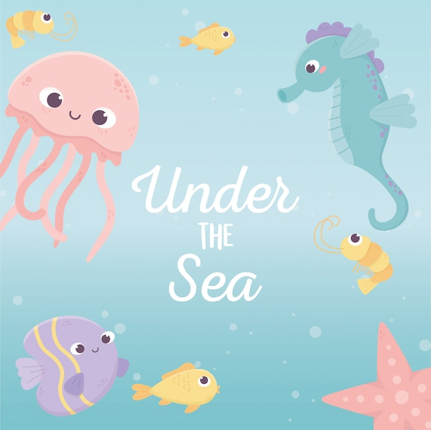クラゲ魚タツノオトシゴヒトデ生活漫画海のベクトル図の下で