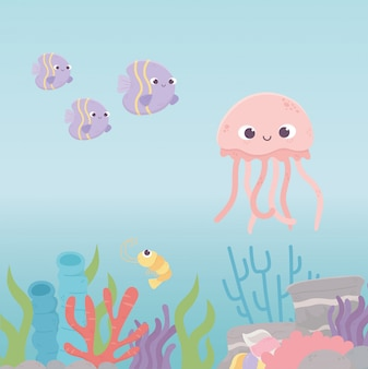 Jellyfish fishes shrimp life coral reef cartoon under the sea