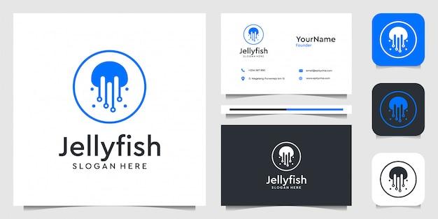 モダンなスタイルのクラゲのロゴ。ブランド、広告、水、動物、清潔、シンプル、名刺に最適