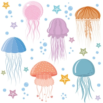 Jellyfish pattern, color vector illustration on a white background.