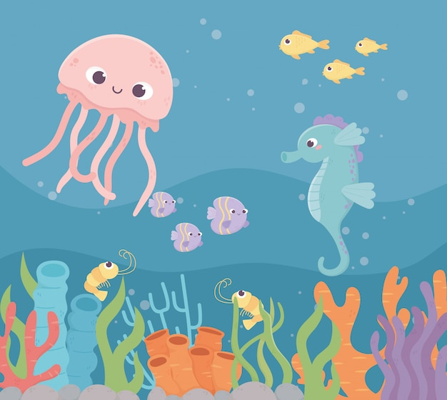 Jellyfish seahorse fishes shrimp life coral reef under the sea
