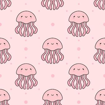 Jellyfish seamless pattern background
