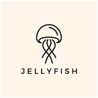 クラゲのシンプルなミニマリストのロゴアイコンのシンボル