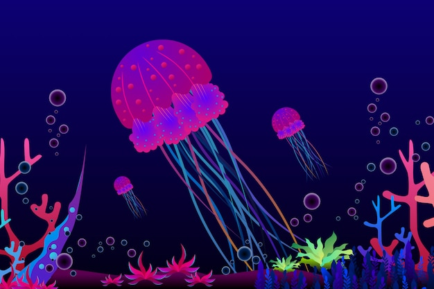Jellyfish with beautiful coral under the sea illustration.