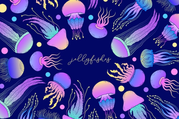 手描きスタイルの背景のクラゲ