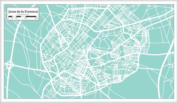복고 스타일의 헤레스 데 라 프론테라 스페인 도시 지도. 개요 지도. 벡터 일러스트 레이 션.