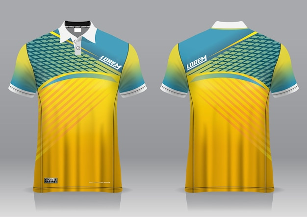 Jersey golf, front and back view, sporty design