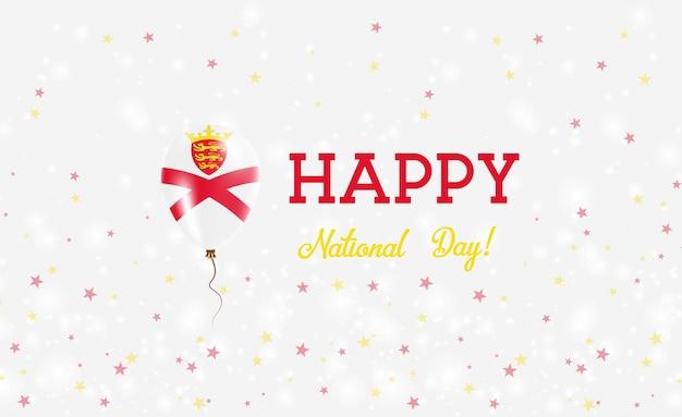 ジャージー建国記念日愛国ポスター。チャンネルアイランダーフラッグの色のフライングラバーバルーン。バルーン、紙吹雪、星、ボケ、輝きのあるジャージー建国記念日の背景。