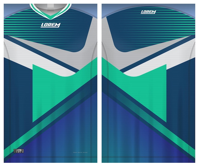 jersey soccer sport, uniform front and back view template fabric