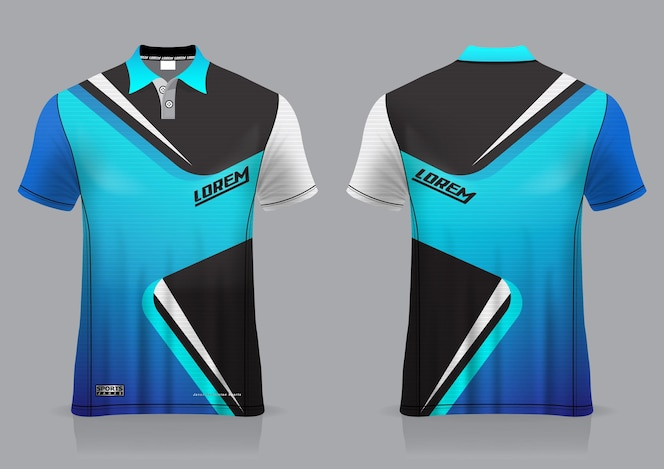 jersey sport badminton, football, runner,  for uniform front and back view template