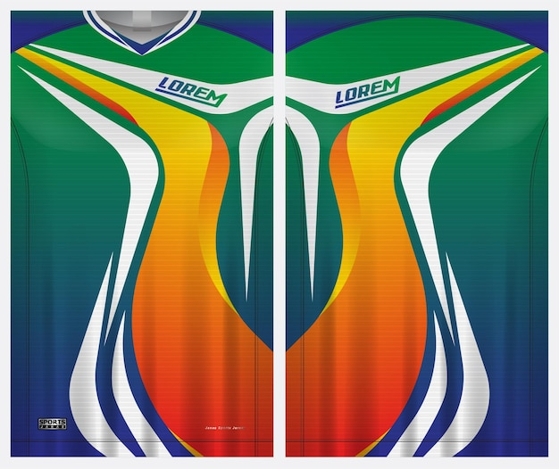 Jersey sport, soccer, badminton, runner,  uniform front and back view template
