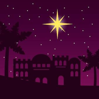 Jerusalem desert palm star night scene