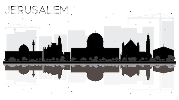 Иерусалим город израиль горизонт черно-белый силуэт с отражениями. векторная иллюстрация. концепция деловых поездок. городской пейзаж иерусалима с достопримечательностями.