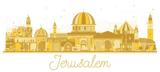 황금 건물 예루살렘 이스라엘 스카이 라인 실루엣입니다. 벡터 일러스트 레이 션. 역사적인 건축과 비즈니스 여행 및 관광 개념입니다. 랜드마크가 있는 예루살렘 도시 풍경.