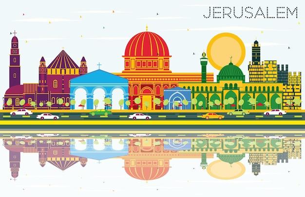Горизонт иерусалима израиль с цветными зданиями, голубым небом и размышлениями. векторные иллюстрации. деловые поездки и концепция туризма с исторической архитектурой. городской пейзаж иерусалима с достопримечательностями.