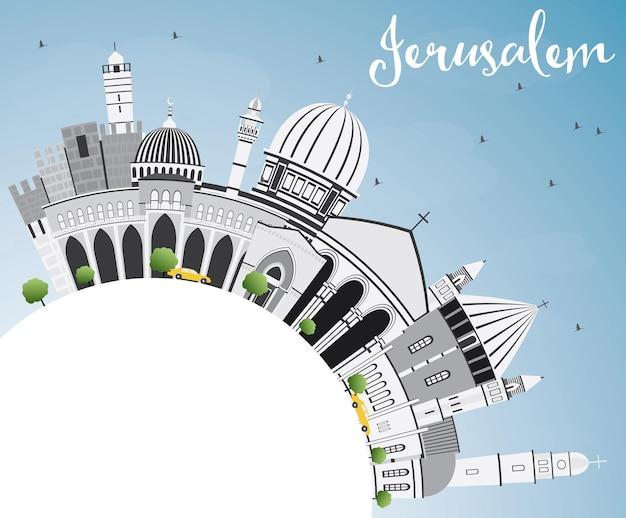 Горизонт иерусалима с серыми зданиями, голубым небом и копией пространства. векторные иллюстрации. деловые поездки и концепция туризма с исторической архитектурой. изображение для презентационного баннера и веб-сайта.
