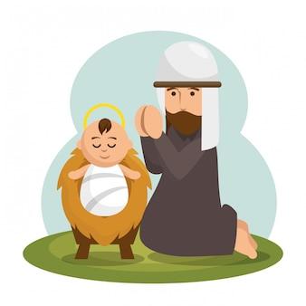 Jesus baby character icon