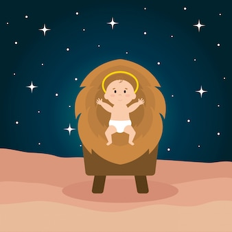 Jesus baby in cradle of straw