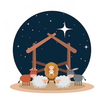 Jesus baby in stable with sheeps and animals
