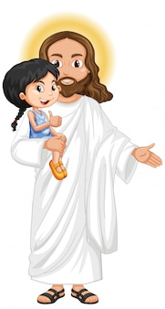 イエスは慈悲深い気持ちでかわいい女の子を運ぶ