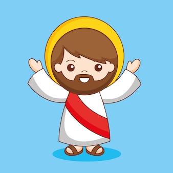 팔, 만화 일러스트와 함께 예수 그리스도 만화