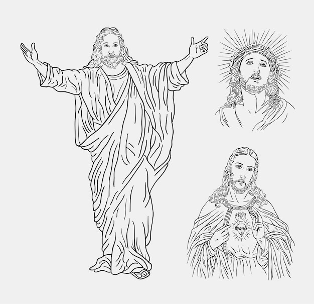 Jesus christ catholic religion line art hand drawing