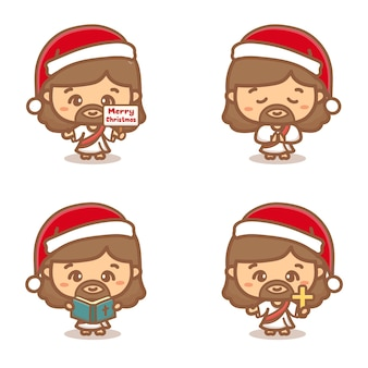 Jesus christ christmas clipart set. praying, holy, and holding a cross. cartoon vector illustration